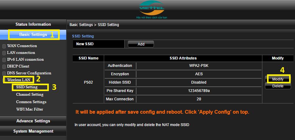 hướng dẫn đổi mật khẩu wifi Viettel H640W