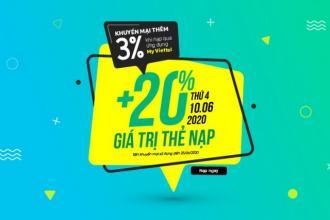 Viettel khuyến mại 20% giá trị tất cả thẻ nạp, duy nhất trong ngày 10/06/2020