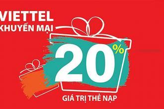 Ngày 28/09/2021, Viettel khuyến mại 20% giá trị tất cả thẻ nạp