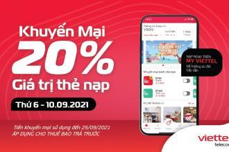 Viettel khuyến mại tặng 20% giá trị thẻ nạp trong 10/09/2021